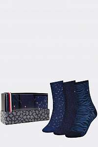 Tommy Hilfiger trblietavý 3 pack ponožiek TH Women Sock 3P Giftbox Lurex so zvieracími motívmi --42