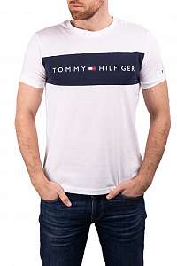 Tommy Hilfiger biele pánske tričko CN SS Tee Logo Flag