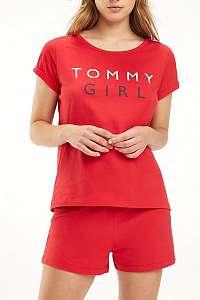 Tommy Hilfiger červené tričko CN TEE SS s logom - L