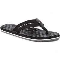 Tommy Hilfiger čierne pánske žabky Corporate Stripe Beach Sandal Black -