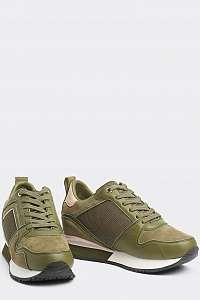 Tommy Hilfiger khaki kožené tenisky Mix Material Wedge Sneaker Stone Gray -
