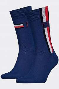 Tommy Hilfiger modré 3 pack ponožiek TH Men Sock 2P Iconic Stripe s logom --46