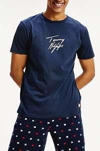 Tommy Hilfiger modré pánske tričko CN Tee SS Logo