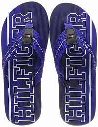 Tommy Hilfiger modré pánske žabky Hilfiger Stripe Beach Sandal Mazarine Blue -