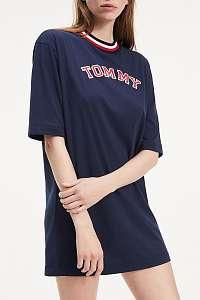 Tommy Hilfiger tmavomodré voľné šaty CN Dress LS s logom - L