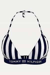 Tommy Hilfiger modro-biely pruhovaný horný diel plaviek Triangle Fixed