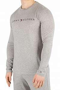 Tommy Hilfiger sivé pánske tričko CN LS Tee Logo - XL
