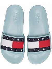 Tommy Hilfiger svetlo modré šľapky Tommy Jeans Flag Pool Slide Canal Blue -