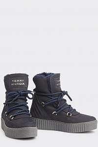 Tommy Hilfiger tmavomodré kožené členkové topánky Cosy Bootie Navy Blazer