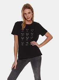 TOP SECRET čierne dámske tričko s potlačou