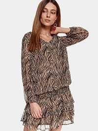 TOP SECRET hnedé šaty so vzormi