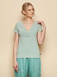 Tranquillo bielo-zelené tričko pruhované Aluna
