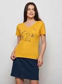 Tranquillo horčicové tričko Fajola s potlačou