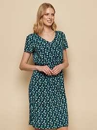 Tranquillo petrolejové šaty s farebnými motívmi