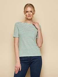 Tranquillo zeleno-biele pruhované tričko Aja