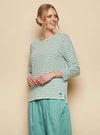 Tranquillo zeleno-biele pruhované tričko Uma