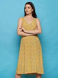Tranquillo žlté kvetované midi šaty