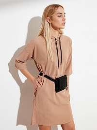 Trendyol béžové mikinové šaty
