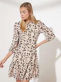 Trendyol béžové šaty so vzormi