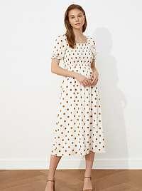 Trendyol biele bodkované midi šaty
