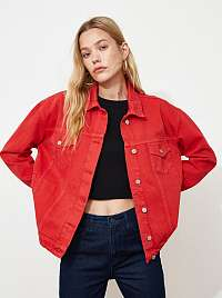 Trendyol červená voľná džínsová bunda