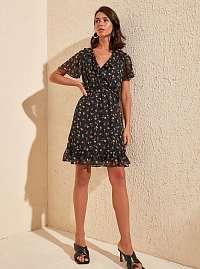 Trendyol čierne letné šaty s farebnými motívmi