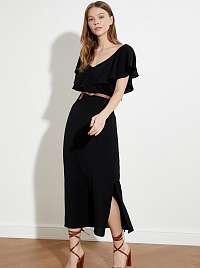 Trendyol čierne maxi šaty s volánovými rukávmi