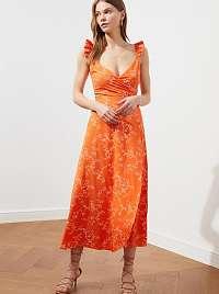 Trendyol oranžové maxi šaty so vzormi
