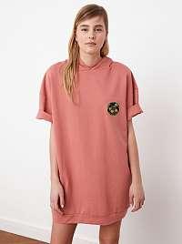 Trendyol ružové mikinové šaty