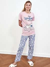 Trendyol ružovo-modré pyžamo s potlačou