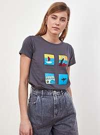 Trendyol sivé tričko s potlačou
