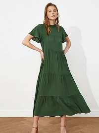 Trendyol zelené maxi šaty s rolákom