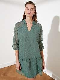 Trendyol zelené voľné šaty so vzormi