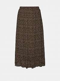 Vero Moda hnedá midi sukňa s farebnými motívmi