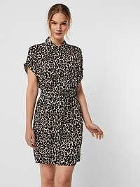 Vero Moda hnedé košeľové šaty Simply so vzormi