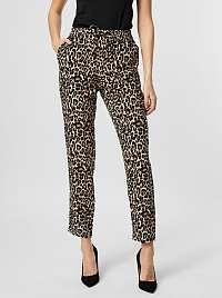 Vero Moda hnedé skrátené nohavice Simply s leopardím vzorom