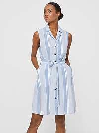 Vero Moda modré košeľové pruhované šaty Sandy