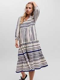 Vero Moda modro-krémové midi šaty Ditche so vzormi