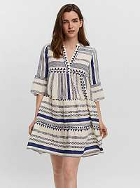 Vero Moda modro-krémové voľné šaty Dicthe so vzormi