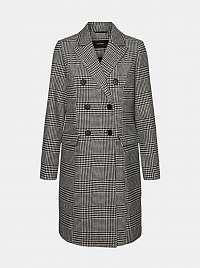 Vero Moda sivý kockovaný kabát s prímesou vlny