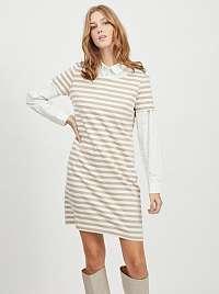 Vila béžovo-biele pruhované šaty