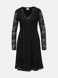 Vila čierne šaty Kaisa s čipkou