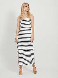 Vila čierno-biele pruhované maxi šaty Calina