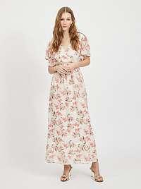 Vila smotanové/krémové maxi kvetované šaty Kathryn