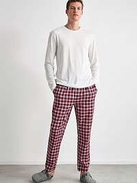 Vínové pánske kockované pyžamové nohavice Trendyol