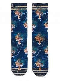 XPOOOS modré dámske ponožky Skyler s tigrami - U