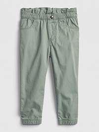 Zelené dievčenskú nohavice plátené mom GAP