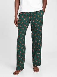 Zelené pánske pyžamo vé flanelové nohavice GAP