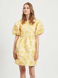 Žlté kvetované balónové šaty VILA mariť