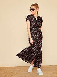 ZOOT čierne kvetované košeľové maxi šaty Lara